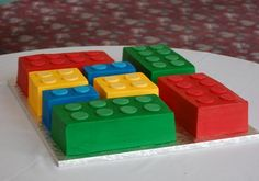 Lego cakes (I could actually do these!) Link includes pic of another AWESOME Lego cake
