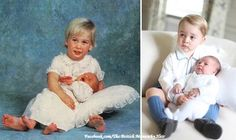 Comparison of a young Prince William holding his 1 week old brother, Prince Harry, and Prince George holding his 5 week old sister, Princess Charlotte.