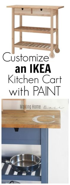 IKEA furniture: Customizing a Kitchen Cart- I already own this cart so now all I. - Ikea DIY - The best IKEA hacks all in one place Ikea Kitchen Cart, Kitchen Decor, Small Kitchen Cart, Island Kitchen, Kitchen Paint, Furniture Makeover, Home Furniture, Ikea Furniture Hacks, Ikea Hacks