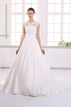Chic+A-line+Illusion+Natural+Train+Taffeta+Ivory+Sleeveless+Zipper+With+Buttons+Wedding+Dress+with+Bowknot+JWLT15017