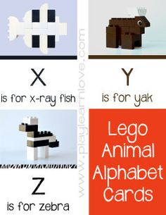 Lego Animal Alphabet Cards :play learn love