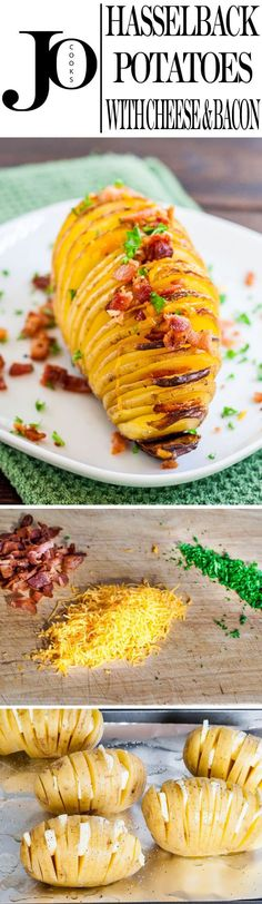 These Hasselback Potatoes with Cheese and Bacon are an easy way to impress your guests. These cheesy potatoes are a perfect combination of crispy and baked potatoes. #hasselbackpotatoes via @jocooks