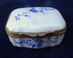 Vintage White Porcelain Hinged Pill Box, Hand Painted Cobalt Blue Floral Design, Made In France, White Porcelain Trinket Box