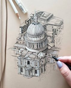 Interior Architecture Drawing, Architecture Drawing Sketchbooks, Architecture Concept Drawings, Architectural Drawings, Architecture Artists, Pencil Drawings, Art Drawings, Drawing Themes, Detailed Drawings