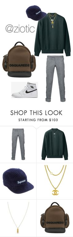 """Untitled #213"" by zion-hall ❤ liked on Polyvore featuring Thom Browne, Supreme, Chanel, Northskull, Dsquared2, men's fashion and menswear"