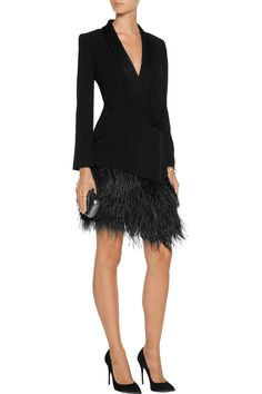 Haute HippieSatin and feather-trimmed crepe blazerfront