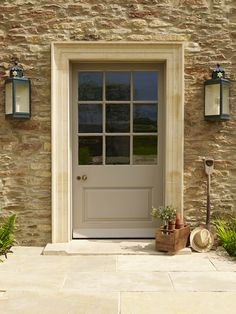 Mandalay buff riven limestone outdoor design- garden ideas в House Doors, Old Stone Houses, Doors, House Front Door, Cottage Front Doors, House Front, External Doors, Cottage Door, House Entrance