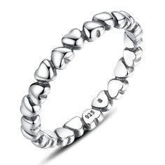 Sterling Silver Sleek Multi Heart Band Ring Sz 6-9