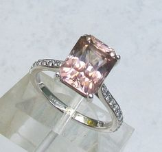 Engagement Ring 10 x 8 Emerald Cut Pink Tourmaline in 14k White Gold Diamond Ring Alternative to Morganite October Birthstone Gemstone. $973.00, via Etsy.
