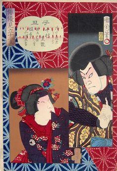 Kunichika, A Comparison of Actors with the 12 Signs of the Zodiac - Rat and Ox-Kunichika, Mitate, japanese woodblock prints, kabuki print, N...