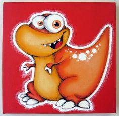oRANGE dINOSAUR- 12x12 original acrylic painting on canvas, dinosaur art, dinosaur room decor for nursery or kids room, dinosaur wall art