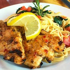 Tender grilled chicken breasts are sauteed in a lemon rosemary glaze and served with an al dante side of angel hair pasta with spinach and tomatoes. This chicken and pasta dish is a rustic and light dinner for any occasion! Turkey Recipes, Chicken Recipes, Chicken Meals, Chicken Bacon, Butter Chicken, Grilled Chicken Tenders, Boneless Chicken, Lemon Rosemary Chicken, Restaurant Recipes