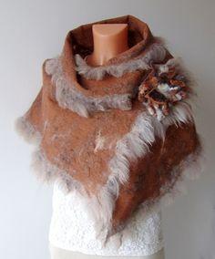 Felted scarf - Brown with alpaca wool by GalaFilc, via Flickr