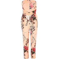 River Island Pink floral print bandeau jumpsuit ($61) ❤ liked on Polyvore featuring jumpsuits, pink, rompers/ jumpsuits, women, floral print romper, red jumpsuit, pink romper, romper jumpsuit and bandeau top
