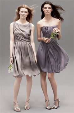 Same fabric or color dresses match well and flatter more figures than identical style dresses.