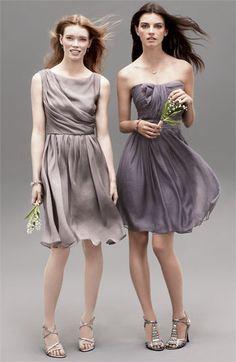gray and purple bridesmaid dresses