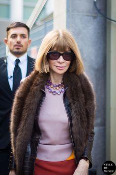 Milan Fashion Week FW 2014 Street Style: Anna Wintour