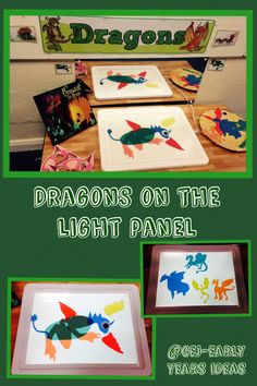 Dragons on light box Early Years Maths, Early Years Classroom, Eyfs Activities, Work Activities, Fairy Tale Theme, Fairy Tales, Dinosaurs Eyfs, Castles Topic, Dragon Classes