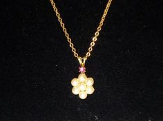 Vintage Avon Pearl Flower & Amethyst Pendant Necklace - FREE Shipping!