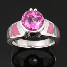 Pink topaz opal ring