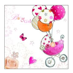 baby girl congratulations Ballons | ... > Cards & wrap > Newborn 'Baby Girl' greetings congratulations card