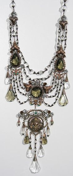 Smoky and Clear Art Nouveau Festoon * Lady with Butterflies