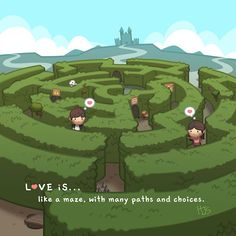 Love Facts : Picture Description HJ-Story :: Love is… Like a Maze Hj Story, Cute Couple Cartoon, Cute Love Cartoons, Cute Cartoon, Chibi Couple, Love Is Everything, What Is Love, Cute Love Stories, Love Story