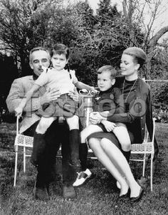 Prince Rainier of Monaco together with Princess Grace and their children Prince Albert (5) and Princess Caroline (6) are at present visiting Princess Grace's mother, Mrs John Kelly, at her home in Philadelphia. The visit coincided with the couple's 7th wedding anniversary. The picture was taken in the garden of Princess Grace's mother in suburban Philadelphia. 20th April 1963