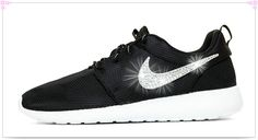 Over 70% Discount Off Popular 2017 Fashion glitter kicks Nike Roshe One Hand Customized Crystallized Swarovski Swoosh Black White