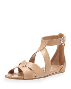 X1Y61 Prada Napa Crisscross Flat Leather Sandal, Tan
