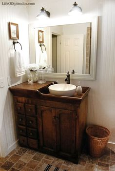 Looking for a bathroom vanity idea for your farmhouse? Luckily, we have curated unique and simple farmhouse bathroom vanity ideas to help you take your bathroom from drab to that rustic farmhouse dream. Cheap Bathroom Vanities, Cheap Bathrooms, Bathroom Sink Vanity, Bathroom Table, Bathroom Ideas, Bathroom Cabinets, Glass Bathroom, Design Bathroom, Shiplap Bathroom