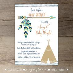 tribal baby shower invitation boho chic oh boy arrow sprinkle mint, Baby shower invitations