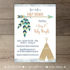 baby boy shower invitation tribal baby shower arrow printable, Baby shower invitations