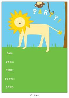 Hicks Paper Goods Jungle Fill-In Invitation - 8 ct - Free Shipping  #YoYoBirthday