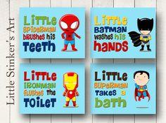Superhero Wall Art Bathroom Decor Boy's Wall by Littlestinkersart, $52.00