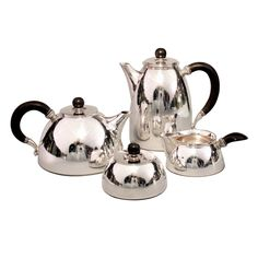 Georg Jensen sterling and ebony Cactus tea and coffee set