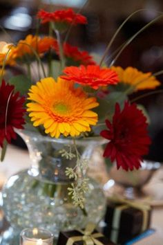 Gerbera Daisies...always bright, fresh and happy!  Includes seeded euc and bear grass.