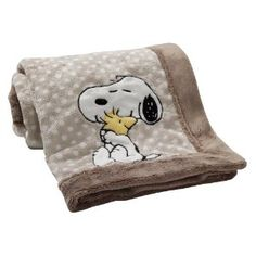Snuggle with your little one in this sweet plush blanket from the BFF Snoopy Nursery Collection by Lambs & Ivy featuring best friends Snoopy and Woodstock. Snoopy hugs his friend as they sit against a polka dot background with brown border. Baby Snoopy, Snoopy Nursery, Snoopy Plush, Bambi Nursery, Snoopy Party, Snoopy Blanket, Snoopy Und Woodstock, Snoopy Pictures, Charlie Brown And Snoopy