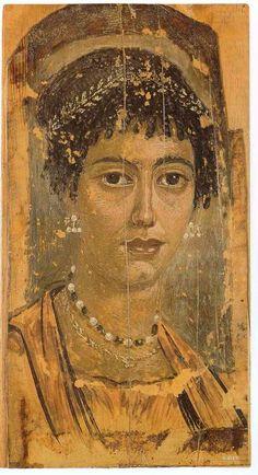 Roman mummy portrait from Fayum, Egypt