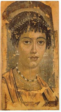 Roman mummy portrait from Fayum, Egypt