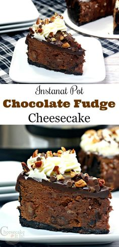 Chocolate and cheesecake go together like two peas in a pod! And, with this easy-to-make Instant Pot Chocolate Fudge Cheesecake, you simply can't go wrong! Quick Easy Desserts, Homemade Desserts, Best Dessert Recipes, Fun Desserts, Sweet Recipes, Delicious Desserts, Instant Pot Cheesecake Recipe, Chocolate Cheesecake Recipes, Best Cheesecake