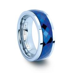 REEF 8MM   Blue Plated Faceted Tungsten Carbide Spinner Ring Tungsten Wedding Bands, Diamond Wedding Bands, Forever Products, Tungsten Carbide Rings, Free Ring, Spinner Rings, Blue Plates, Plating, Rings For Men