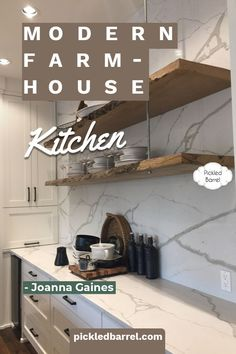 Dreamy inspiration for modern farmhouse kitchens, featuring warm woods and rustic elements that really turn up the charm. Also find ideas inspired by Joanna Gaines, as well as classic black and white. #pickledbarrelblog #modernfarmhousekitchens #joannagaines