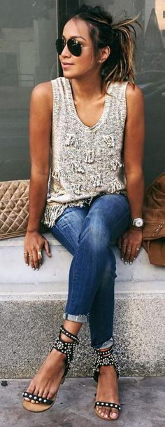 #sincerelyjules #spring #summer #besties | Embellished Tank + Denim                                                                             Source