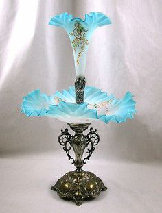 Art Nouveau Art Glass Epergne With Silver Plate Holloware Base And Fittings With Base Done By WMF-Founded By Daniel Straube In Germany In 1853  -   eBay