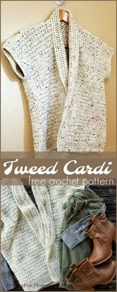 Here is a tweed cardigan crochet pattern that is short sleeved, has such a great design and blend to it.#affilaitelink