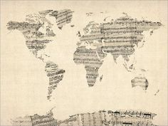 Map of the World Map from Old Sheet Music Art Print from artPause on Etsy. Saved to Map Art. World Map Art, World Map Canvas, Old Sheet Music, Vintage Sheet Music, Music Sheets, Piano Sheet, Sheet Music Crafts, Music Canvas, Poster Online