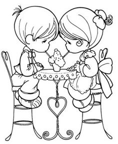 Precious Moments Were Drinking Together Coloring Pages