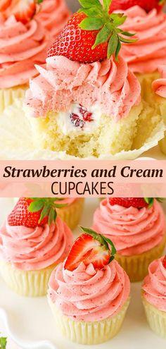 Strawberry Cupcake Recipes, Cupcake Flavors, Strawberry Frosting, Easy Cupcake Recipes, Strawberry Cupcakes With Filling, Vanilla Cupcake Recipes, Wedding Cupcake Recipes, Strawberry Sauce, Just Desserts