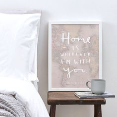 This charming and loveable typographic home map print makes a great gift. The inspirational typography home poster is an ideal house warming gift and complements any home decor. The world home map wall art is uniquely designed and illustrated with the quote home is wherever Im with you - you can also personalise this print by adding in the names of the recipients below - just let us know the names via the customer comments at checkout.    Our prints are handmade and printed on 220gsm fine…